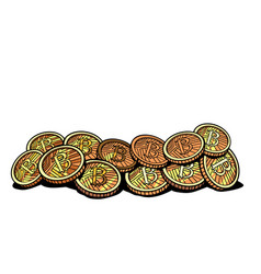 Crypto currency bitcoin isolated on white vector