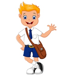 Cute boy in uniform waving hand vector