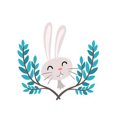 cute white easter bunny and green spring twigs vector image
