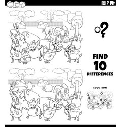 Differences educational game with farm animals vector