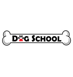 dog school logo design isolated on white vector image