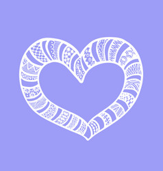 doodle hand drawn heart on violet background vector image