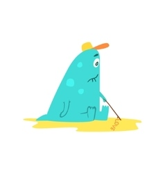 Drawing On Sand Monster The Beach vector