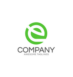 e logo in the shape of green color vector image