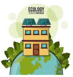 Ecology green world house solar panel forest vector