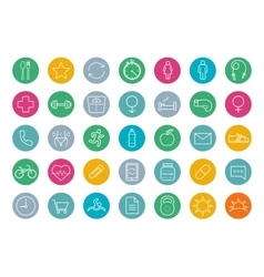 Fitness color linear icons set vector image