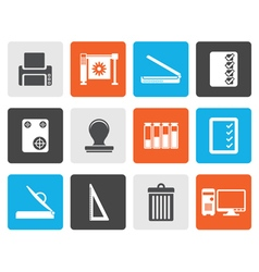 Flat print industry icons vector
