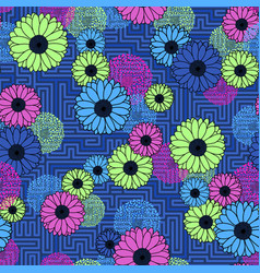 Floral clash on geometric background seamless neon vector