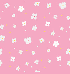 floral seamless pattern with white flowers on pink vector image