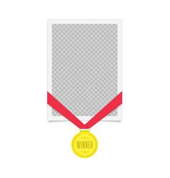 frame with winner medal vector image