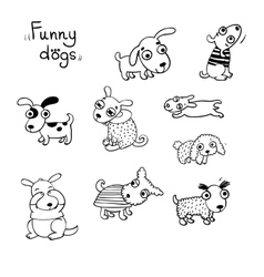 Funny dogs in the snow vector image