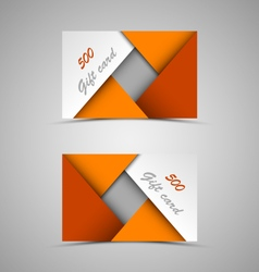 Gift card with abstract orange triangles template vector