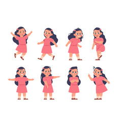 girl expressions cartoon kid with different types vector image