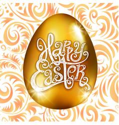 golden egg happy easter with decorative orange vector image