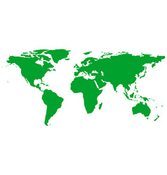 green world map isolated on white background vector image