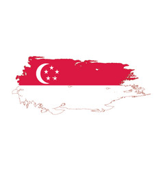 Grunge brush stroke with singapore national flag vector