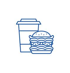 hamburger and coffee line icon concept hamburger vector image