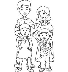 Happy family with two children line art cartoon vector