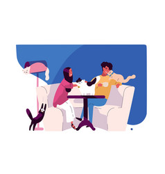happy young couple at cat cafe smiling man and vector image