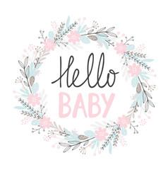 hello baby cute hand drawn card vector image