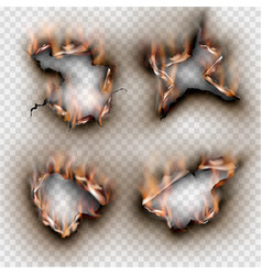 Hole set torn in ripped paper with burnt flame vector