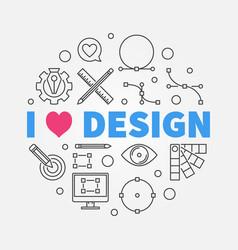 i love graphic design round line vector image