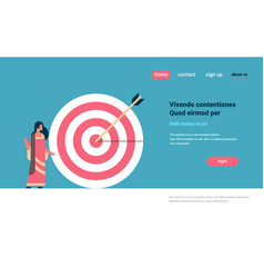 indian woman target arrow goal success business vector image