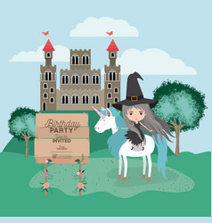 Invited birthday party card with unicorn and witch vector