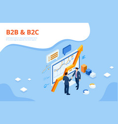 Isometric business to business marketing b2b vector
