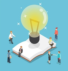 Isometric light bulb over an open book vector image