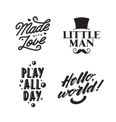 Kid clothes typography prints vintage vector