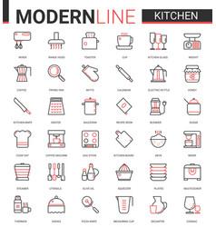 Kitchen flat line icon set vector