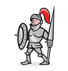 Knight Shield Holding Lance Cartoon vector image