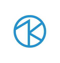 Letter ak simple geometric line logo vector
