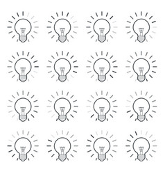 light bulb rotating rays animation sprite linear vector image