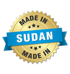 Made in sudan gold badge with blue ribbon vector