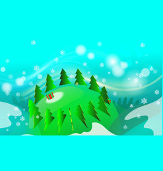 merry isometry christmas tree vintage background vector image