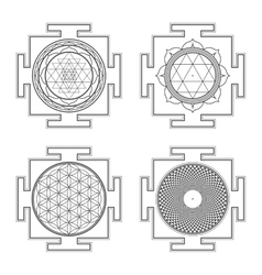Monocrome outline hindu yantra set vector