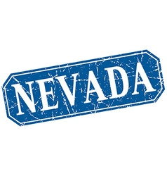 Nevada blue square grunge retro style sign vector