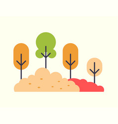 orange and red color trees and multicolor bushes vector image
