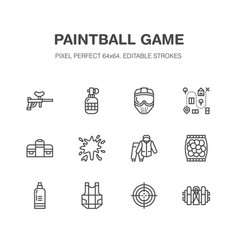 paintball game flat line icons outdoor vector image