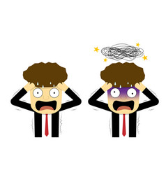 panic and confused businessman in flat art vector image