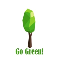 Polygonal green tree with elongated crown vector