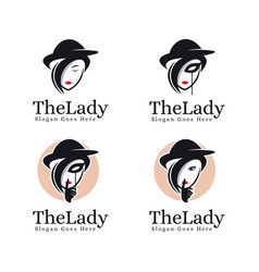 Pretty lady logo with hat icon set template vector