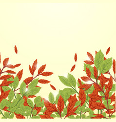 red and green leaves autumn background freehand vector image