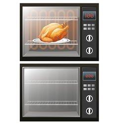 Roasted chicken in the electronic oven vector