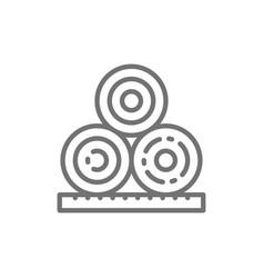Rolled hay bales haystack agriculture line icon vector