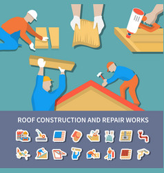 Roofer flat and colored composition vector