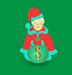 Santa Claus with Big Bag Isolated vector