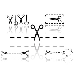 scissors and dotted line set with reflection vector image